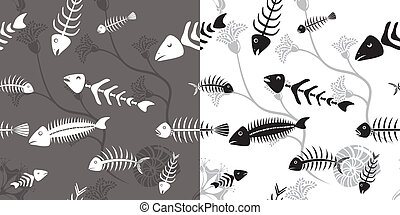Fish skeleton seamless vector