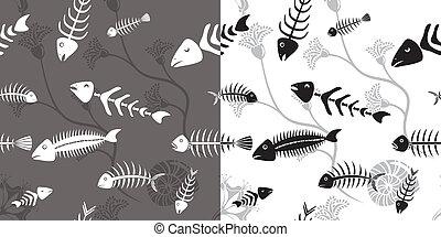 Fish skeleton seamless vector