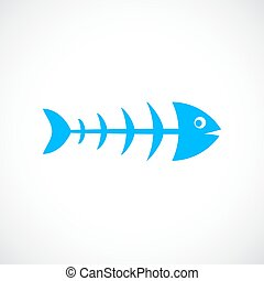 Fish skeleton vector icon
