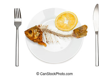 Fish skeleton with squeezed lemon on the plate - symbol for...