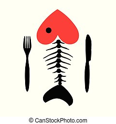 Fish skeleton with the head in the shape of a heart with Cutlery.