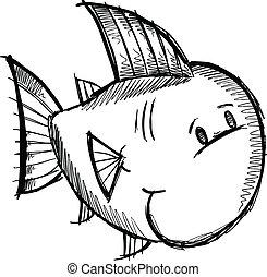 Fish Sketch doodle Vector