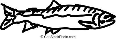 Fish sketch, illustration, vector on white background.