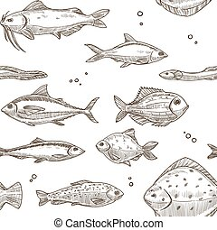Fish sketch pattern background. Vector seamless design