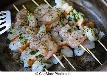 Fish skewers detail 2