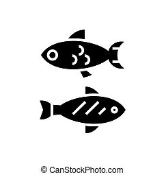 fish - small icon, vector illustration, black sign on isolated background