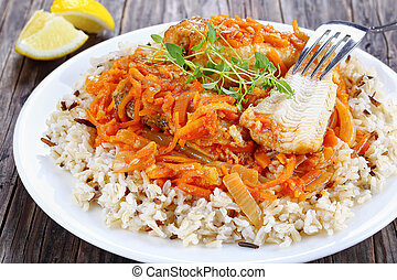 fish, sommet, portion, délicieux, blanc, vue