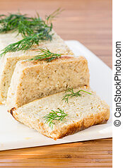 fish souffle - chopped fish souffl? with dill on table