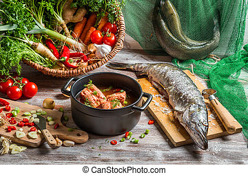 Fish soup made of fresh vegetables