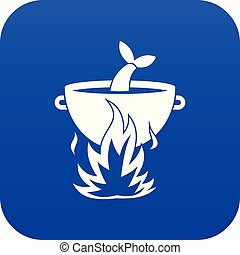 Fish soup on a fire icon digital blue