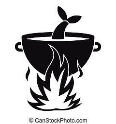 Fish soup on a fire icon, simple style