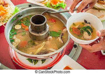 Fish soup, Tom Yum Fish, Thailand food.