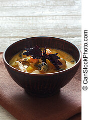 Fish soup with salmon and mussels
