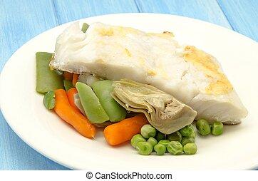 fish, spezzatino, con, verdura
