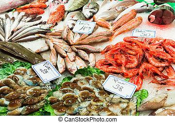 Fish stall in the Boqueria market, Barcelona.