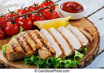 fish steak grilled vegetables