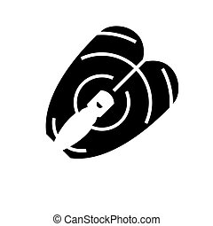 fish steak icon, vector illustration, black sign on isolated background