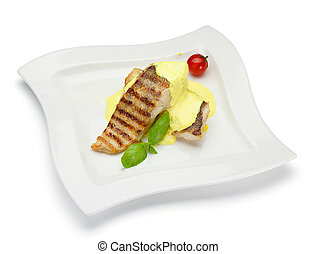fish steak with cheesse sauce isolated on white background