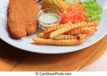 fish steak with french fries