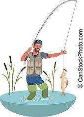 fish., stil, illustration., bunte, wohnung, groß, fishing., vektor, fischer, karikatur
