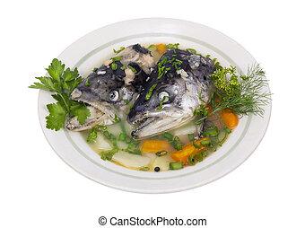 fish, suppe, af, laks, hoveder