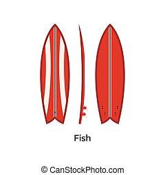 Fish Surfboard Desk Illustration