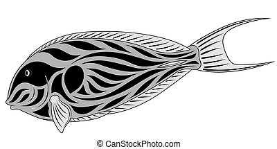 Fish surgeon - Abstract Fish-surgeon in the form of a tattoo