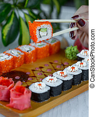 fish sushi with red caviar