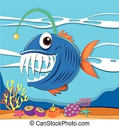 Fish swimming under the sea