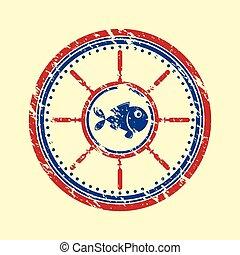 Fish symbol grunge