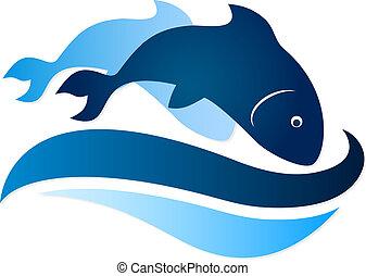 fish, symbole, sur, vagues