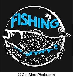 fish, symbole, vagues, peche