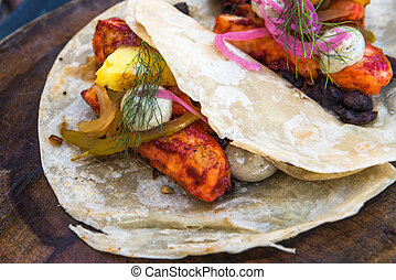 Fish tacos al pastor, authentic mexican cuisine
