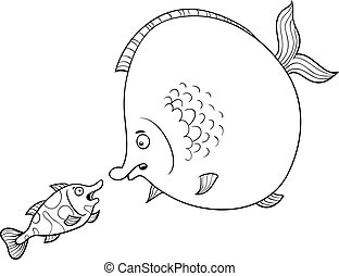 fish talking coloring page - Black and White Cartoon...