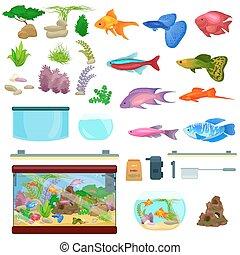 Fish tank, aquarium with water, animals, algae, corals,...