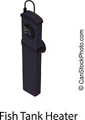 Fish tank heater icon, isometric style