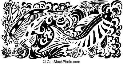 Fish Texture - Abstract illustration of underwater scene