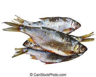 The dried small fish, snack to beer, on a white background.