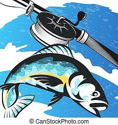 fish, tige, peche, vagues