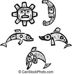 fish, tribal, lune, drawings., soleil, shoshone, indigène