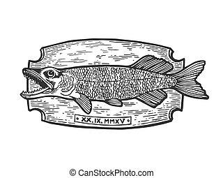 Fish trophy engraving vector illustration. Scratch board...