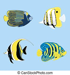Fish Tropical Fishes Shoal Set. Vector illustrations
