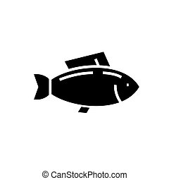 fish - tuna icon, vector illustration, black sign on isolated background