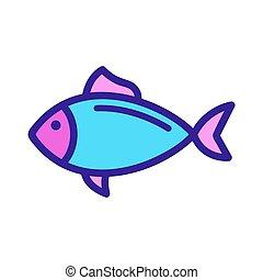 Fish tuna icon vector. Isolated contour symbol illustration