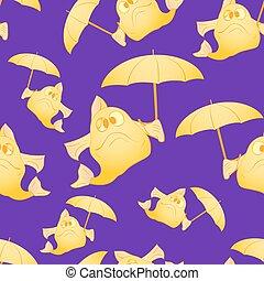 fish, umbrella., fond, jaune, sombre