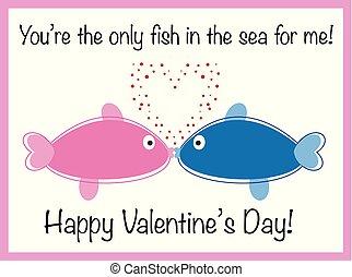 fish, valentines dzień, szczęśliwy