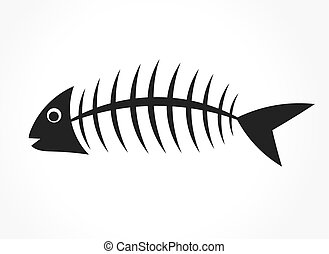 fish, vecteur, bone.