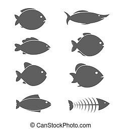 fish, vecteur, ensemble, icônes