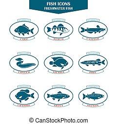 fish, vecteur, icônes