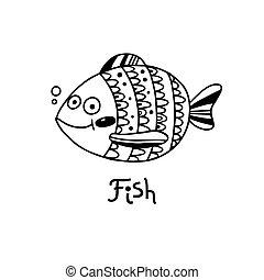 fish, vecteur, illustration, style., mignon, dessin animé